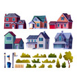 suburban street elements set houses and plants vector image