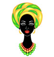 the head a nice lady on head an african vector image vector image