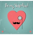 Valentine card with glasses heart and mustache vector image vector image