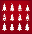 white silhouette christmas trees stylized simple vector image
