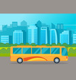 yellow bus drive on an asphalt road against the vector image vector image