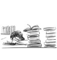 young woman sleeping among books at the table vector image