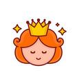 cute funny smiling girl princess face vector image