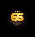 66 number icon design with golden star and glitter vector image vector image