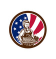 american female organic farmer usa flag icon vector image vector image