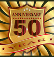 anniversary 50 th label with ribbon vector image