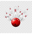 bowling ball skittles on transparent background vector image