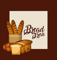 bread fresh baguette in paper bag whole and toasts vector image vector image