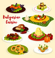 bulgarian cuisine dinner dish with dessert icon vector image vector image