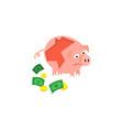 cartoon repaired piggy bank sad vector image