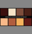 chocolate bar and wafer seamless pattern set vector image