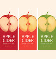cider labels with apple halves vector image vector image