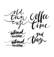 Coffe and cuisine theme lettering inscriptions vector image