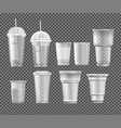 collection of plastic cups vector image