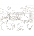 Coloring book farm cartoon educational vector image vector image