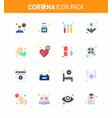 coronavirus 16 flat color icon set on theme vector image vector image