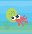 cute ammonoid swimming of vector image vector image