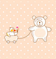 cute bear and duck friends pink vector image vector image