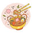doodle ramen noodles bowl oriental japanese vector image