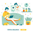 education course home flat graphic design vector image vector image