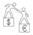 Euro vs dollar icon outline style vector image vector image