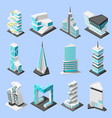 futuristic architecture isometric set vector image