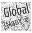 Global Warming Can It Be Stopped Word Cloud vector image vector image