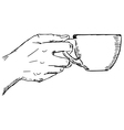 hand with cup vector image vector image