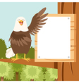 happy eagle on tree flat background vector image vector image