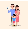 happy family with a plastic credit card vector image