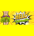 hawaii woman pop art comic book background vector image