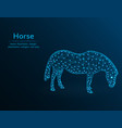 horse low poly polygonal animal on blue vector image vector image
