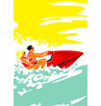 hot day at sea man and woman on aquabike vector image vector image