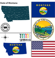 map montana with seal vector image vector image