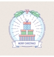 New Year and Christmas badge with gift boxes vector image vector image