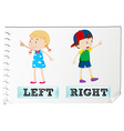Opposite adjectives left and right vector image vector image