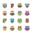 owl cartoon flat icons vector image