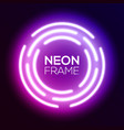 purple gradient neon light frame techno circles vector image