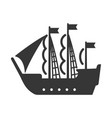 sailing ship pirate vessel bold black silhouette vector image vector image