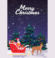 santa claus riding in sledge with reindeer merry vector image vector image