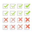 set different check marks or ticks and crosses vector image