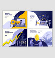 set landing page template people develop business vector image