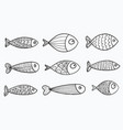 set of stylized fishes collection of vector image vector image