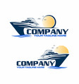 speed boat with sunset logo vector image