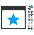 Star Calendar Page Icon With Bonus vector image vector image