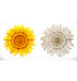 sunflower 3d realism and engraving styles vector image vector image