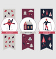 winter sports banners with different characters vector image vector image