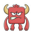 angry red square devil cartoon monster vector image