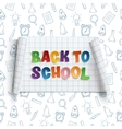 Back to school curved banner on squared paper vector image vector image