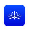 big crown icon digital blue vector image vector image
